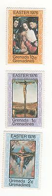 "Grenada Grenadines 1976 Easter stamps x 3 to 2c fv incl. ""Christ Crucified""  MUH"