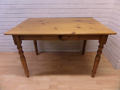 Solid Pine Farmhouse Kitchen/dining Table With Drawer - Good Condition