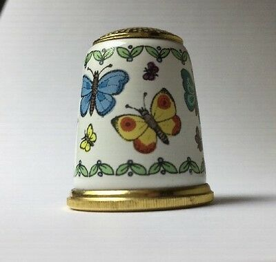 HALCYON DAYS Enamel Thimble with Butterflies