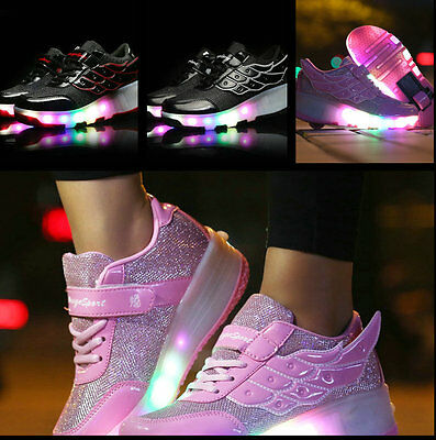 Kids Retractable Wheel Roller Skate Shoes Youth Boys Girls LED Light Up Shoes