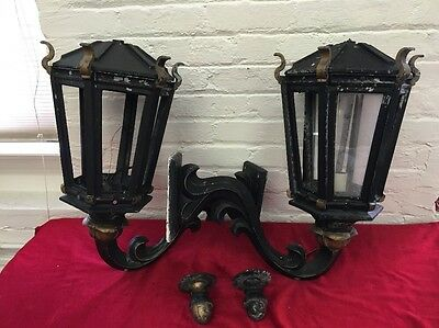 2 Gothic Outdoor Porch Lights Wall Lantern Sconce Black Cast