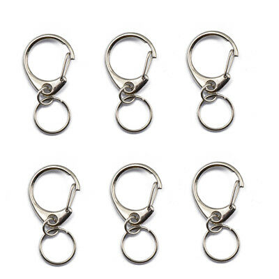 6 Silver Snaps Lobster Trigger Swivel Clasps Split Ring Keychain Hooks 45mm