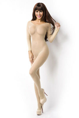 Body Stocking Haut Dessous Reizwäsche Beige Transparent Optik Weich