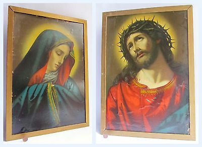 2 x Large Vintage Antique Framed Religious Picture Prints / Gothic Design
