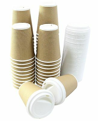 Disposable Insulated Ripple Hot Coffee Paper Cup with Cappuccino Lids 12oz New