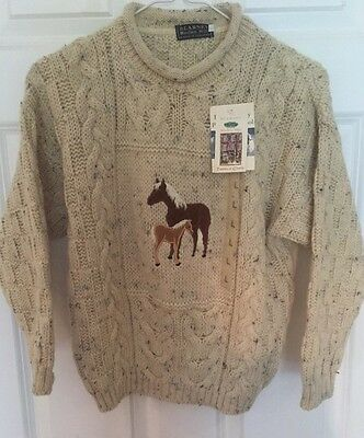 Blarney Woolen Mills Sweater Childs Size Large 8 10 Wool Horses Fishermans