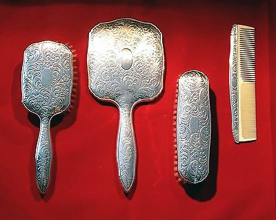 Antique Victorian Sterling Silver 800 Vanity 4 pieces set - late 1800s