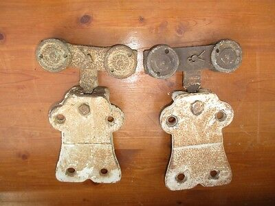 2 Vtg. Antique Cast Iron Barn Door Hanger Brackets with Rollers Wheels