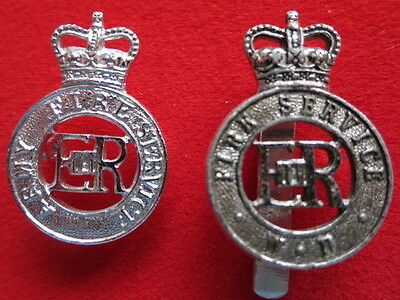 2 Army Fire Service Cap Badges - Obsolete