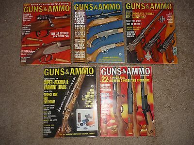 5 Issues of Guns & Ammo Magazines, January February March April & December 1967