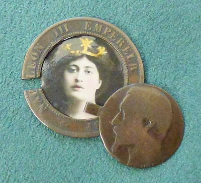 WW1 TRENCH ART/ SPY COIN_Hidden Photo/ Paper Compartment_1862 French 10 Centimes