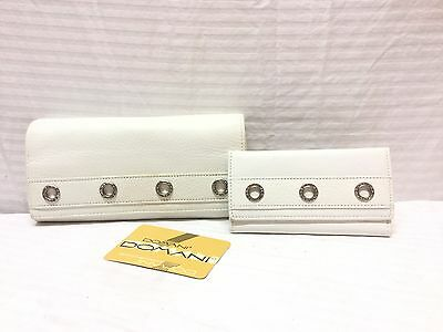 NWOT Domani Leather Wallet matching Key Holder,lot of 2,white leather wallet
