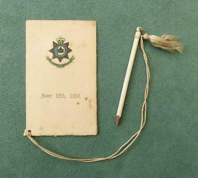 1889 DANCE CARD - 3rd BATTALION THE DEVONSHIRE REGIMENT with Terpsichore Pencil