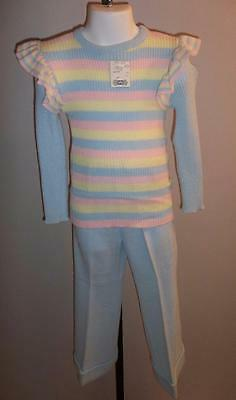 GIRL'S VTG 1970s 2 PC KNIT SUIT SLACKS & SWEATER BLUE w/ YELLOW & PINK Sz 6 NWT