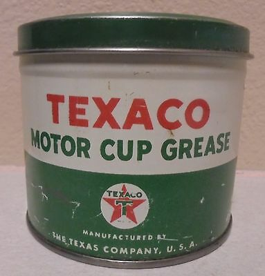 Texaco Motor Cup Grease oil gas tin can 1 pound lb empty gas oil company