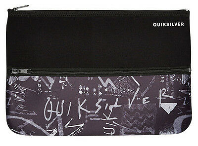 "Brand New + Tag Quiksilver Boys Jumbo Large Pencil Case School ""friday"" Blk Bnwt"