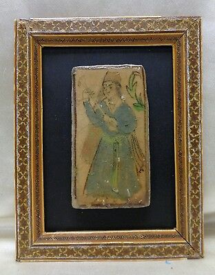 Traditional Persian Art on Antique Tile w. Old Middle Eastern Inlaid Decor Frame