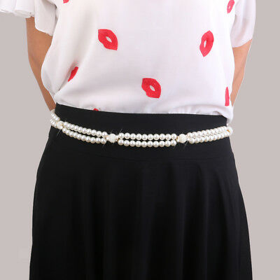 Women Pearl Diamante Rhinestone Belt WAIST HIP BELLY BODY CHAIN Dress Decor