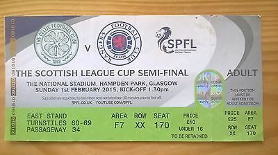 CELTIC v RANGERS – 1.2.15 – LEAGUE CUP SEMI-FINAL – USED TICKET