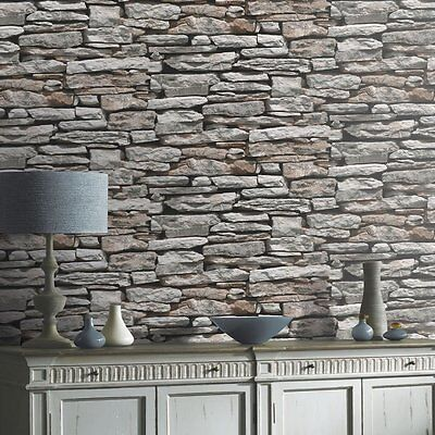 Realistic Moroccan Grey Slate Stone Old Brick Wall Arthouse Wallpaper 623000