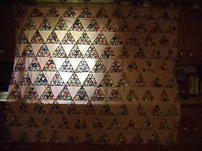 Vintage Hand Sewn  Triangles Quilt Topper On Pink - Full Size (31)