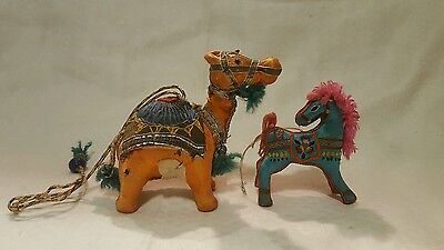 Vintage Hand Sewn Textiles And Stuffed Camel & Horse With Tassel Accents