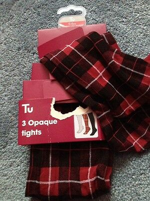 Bnwt Girls 2 Pairs Opaque Tights Red Christmas Gift Black Party 5-6 Years