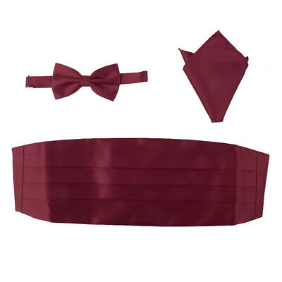 Mens Satin Bow Tie Cummerbund Hanky Handkerchief Set Tuxedo Wedding Wine Red