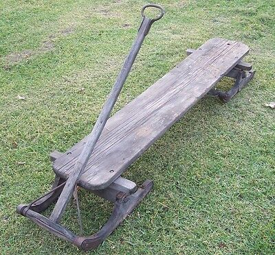 Antique Primitive Early American Horse Drawn Utilty Bob Sled Wood Farming Log