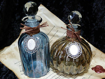 2 Potion Bottles with glass stopper. Moste Potente recipes. Harry Potter Spells
