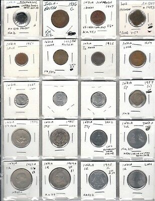 Great variety lot of 20 different coins from India plus bonus coin 1000 yrs old