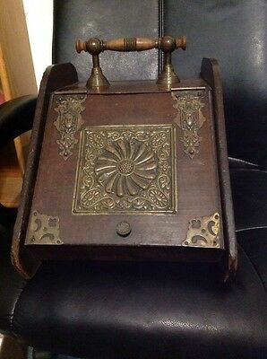 Antique Wood & Brass Coal Ash Box Bin Scuttle