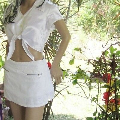 White skirt with Pentagram stretch cotton Wicca Celtic pagan clothingGypsy Skirt