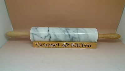 Gourmet Kitchen Marble Rolling Pin on Wooden Stand 18""