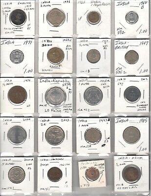 Great variety lot of 20 different coins from India inc. one 1000 years old