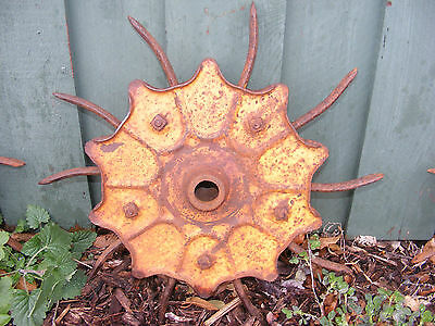 Vintage Industrial Iron Rotary Hoe Cultivator Wheel Garden Farm Yard Art Decor • CAD $50.44