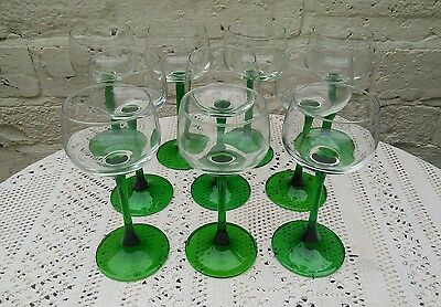 10 Vintage French Green Stem Wine Glasses Hock 6 Curved & 4 Straight Stems
