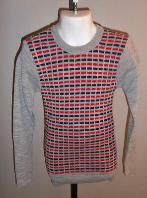 BOY'S VTG 1970s GRAY SWEATER RED & BLUE PATTERNED 100% ACRYLIC SZ 10 NOS