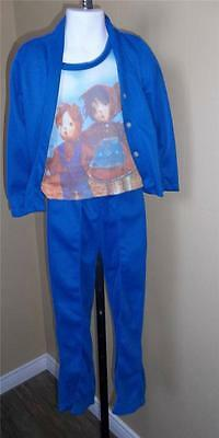 GIRL'S VTG 1970s 2 PC POLY PANTS SUIT RAGGEDY ANNE STYLED DOLL PRINT Sz 6X NOS