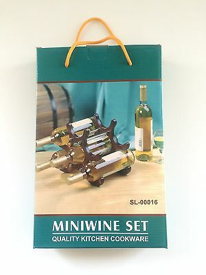 Small Wooden Wine Rack, Six Bottle Storage for Bar Counter Display Gift for Dad