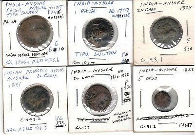 Lot of 6 different elephant and tiger Mysore coins 1796 to1868 @ ⅓ book price