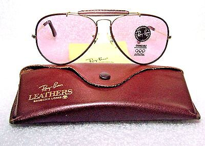 Ray-Ban Nos B&l Vintage Aviator Leathers *rare Rose *changeables *new Sunglasses