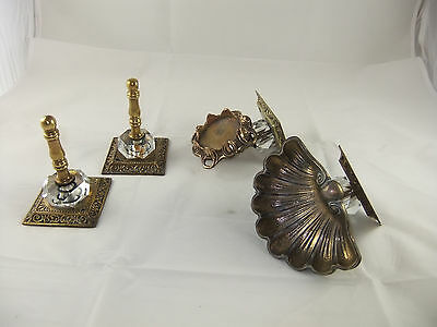 Vintage GIM Bathroom Fixtures Brass Cut Glass Brush Cup Holder Soap Dish