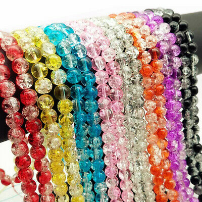 Hot Glass Mixed Round Crackle Crystal Charms Beads Jewelry Making 6mm 8mm 10mm