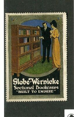 Vintage Poster Stamp Label GLOBE WERNICKE SECTIONAL BOOKCASES Barrister
