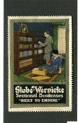 Vintage Poster Stamp Label GLOBE WERNICKE SECTIONAL BOOKCASES Barrister couple