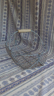French Vintage Rustic Metal Wire Basket for Oysters Shellfish Large