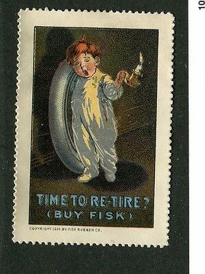 Vintage Poster Stamp Label FISK TIRE BOY Time to Re-tire tires cars autos
