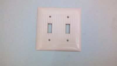 Vintage Sierra Bakelite Double Toggle Ivory Switch Plate Art Deco Ribbed