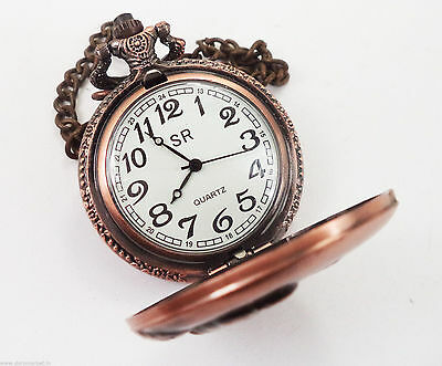 Vintage Reproduction Handmade A man Playing Golf pink Pocket Watch With Chain